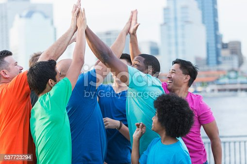 istock Multi-ethnic group of fathers and sons, high-five 537723294