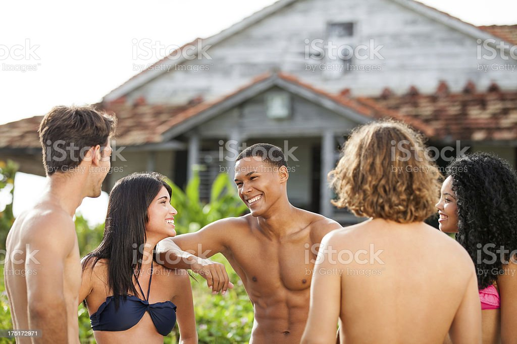 Multi-ethnic group of friends having a good time royalty-free stock photo
