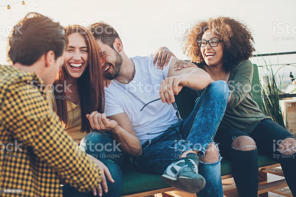 Multi-ethnic group of friends laughing – Foto