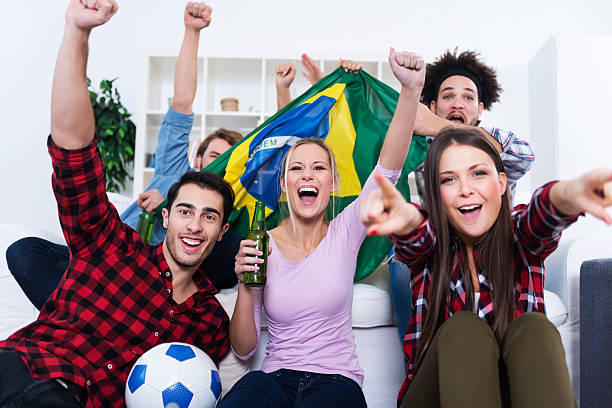 Best Brazilian Soccer Fans Watching Tv Stock Photos