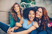 Multi-ethnic group of girls laughing
