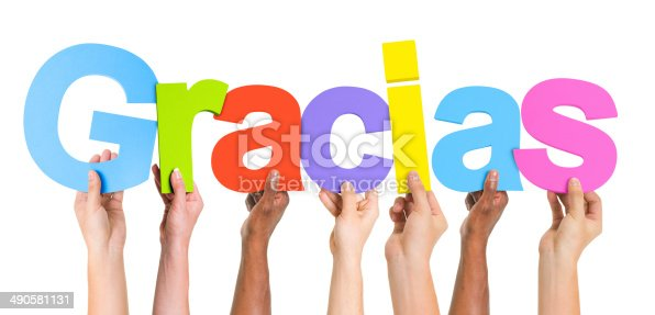 istock Multiethnic Group of Hands Holding Word Gracias 490581131