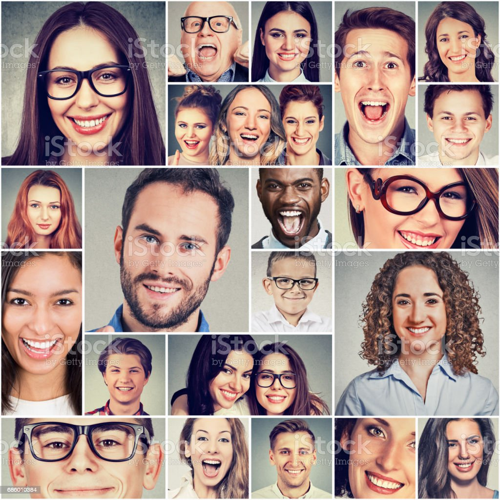 Multiethnic group of happy smiling people men and women stock photo