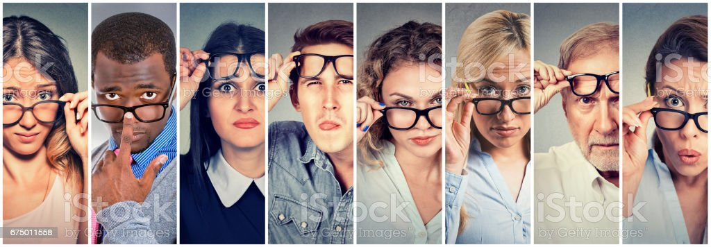 Multiethnic group of hard to please people men and women skeptically looking at you stock photo