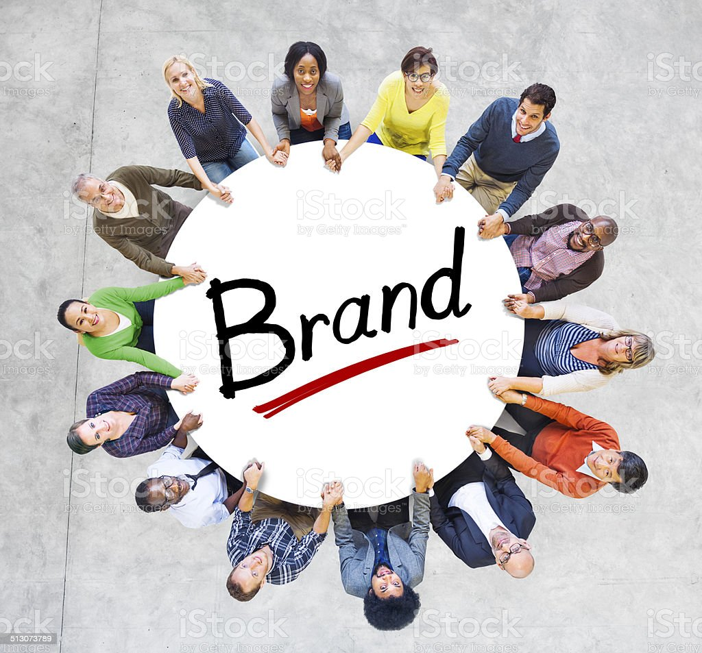 Multiethnic Group of People and Branding Concepts stock photo