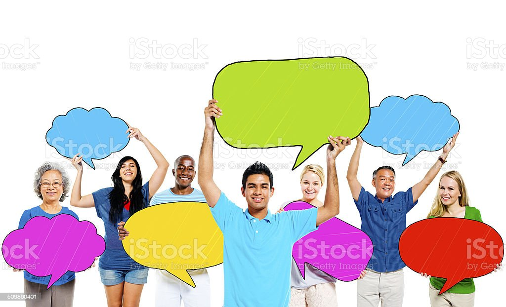 Multiethnic Group of People and Colourful Speech Bubbles stock photo