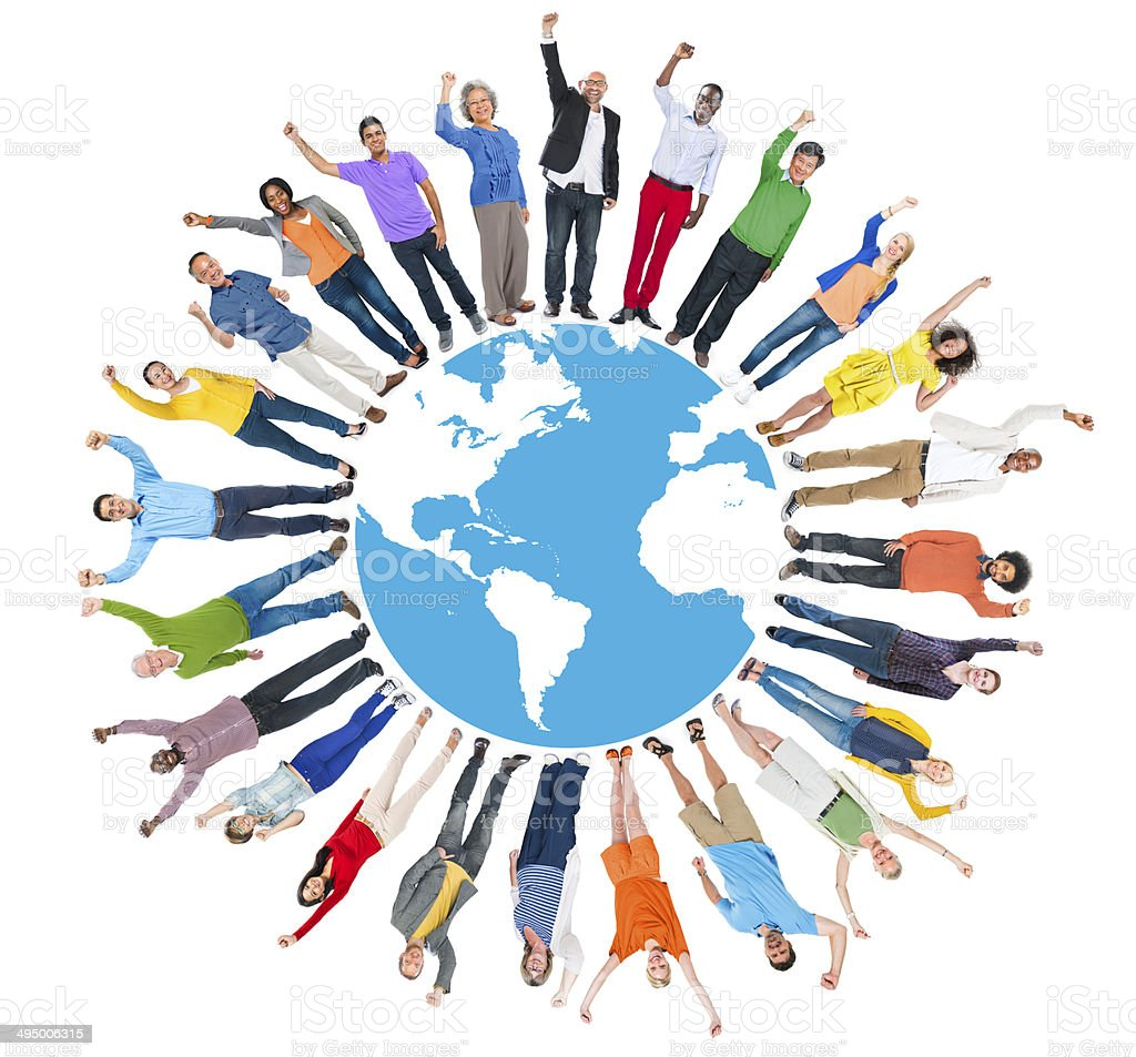 Multiethnic Group of People Arms Raised and Earth stock photo