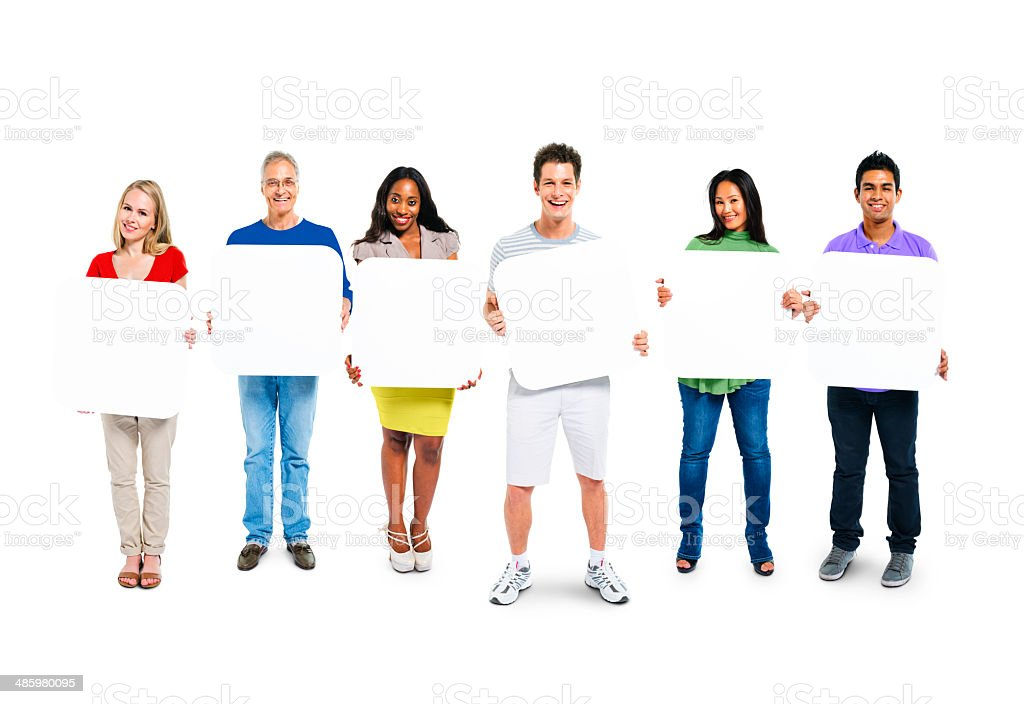 Multi-Ethnic Group Of People Holding 6 Empty Placards stock photo