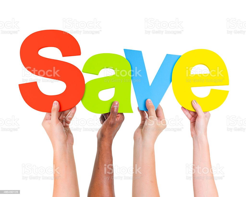 Multi-Ethnic Group Of People Holding The Word Save stock photo