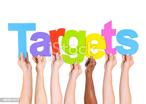 istock Multi-Ethnic Group Of People Holding The Word Target 485851879