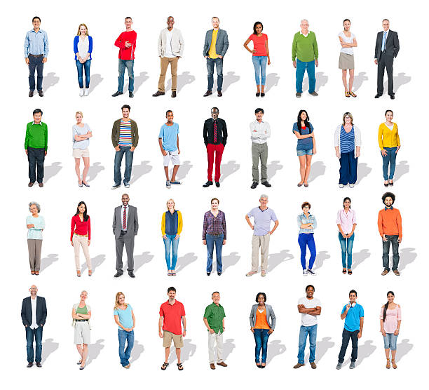 multiethnic group of people in a row - row of heads stock photos and pictures