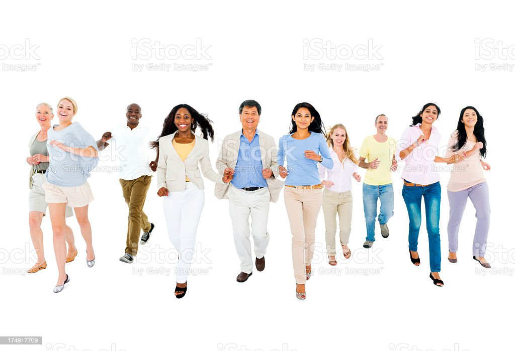 Multi-ethnic group of people moving together royalty-free stock photo