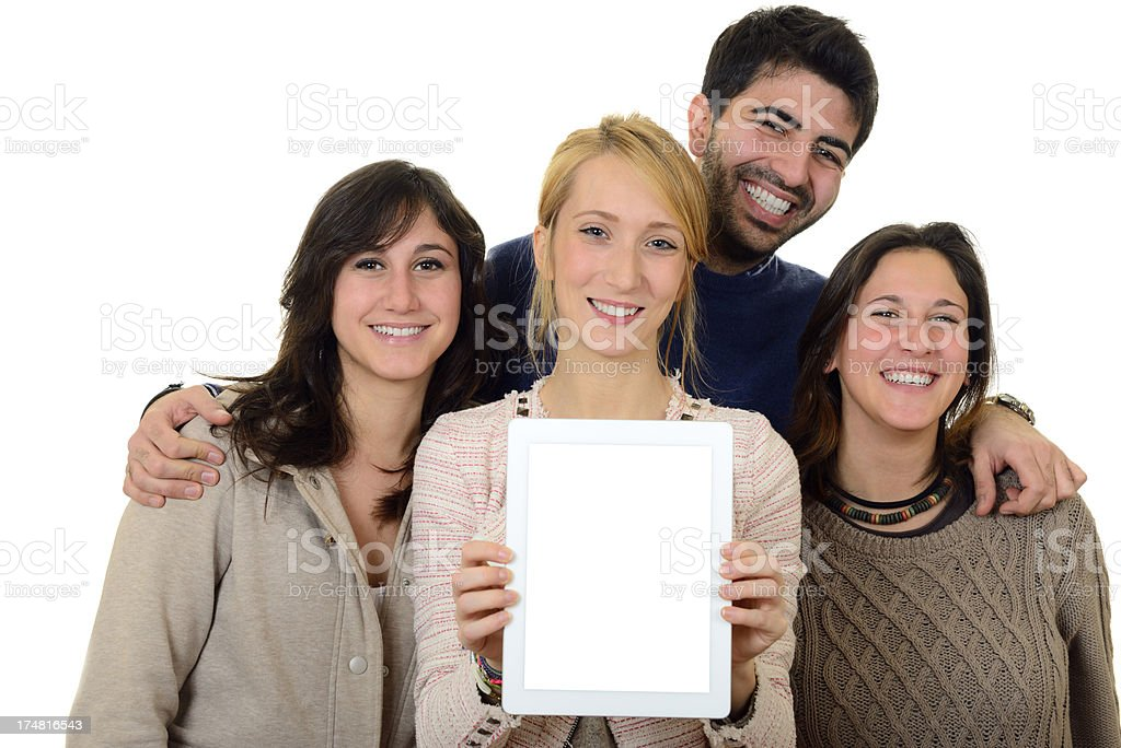 Multi-Ethnic Group of People Showing Blank Digital Tablet royalty-free stock photo