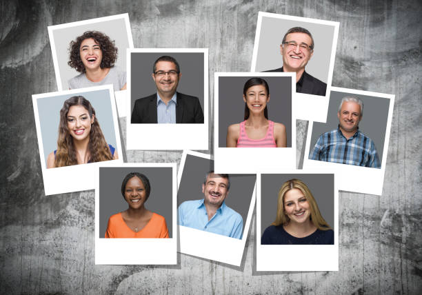 multi-ethnic group of people smiling portraits - image montage stock pictures, royalty-free photos & images