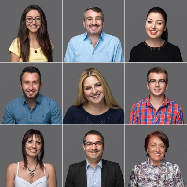 multi-ethnischen gruppe von menschen, die lächeln porträts - alte serien stock-fotos und bilder
