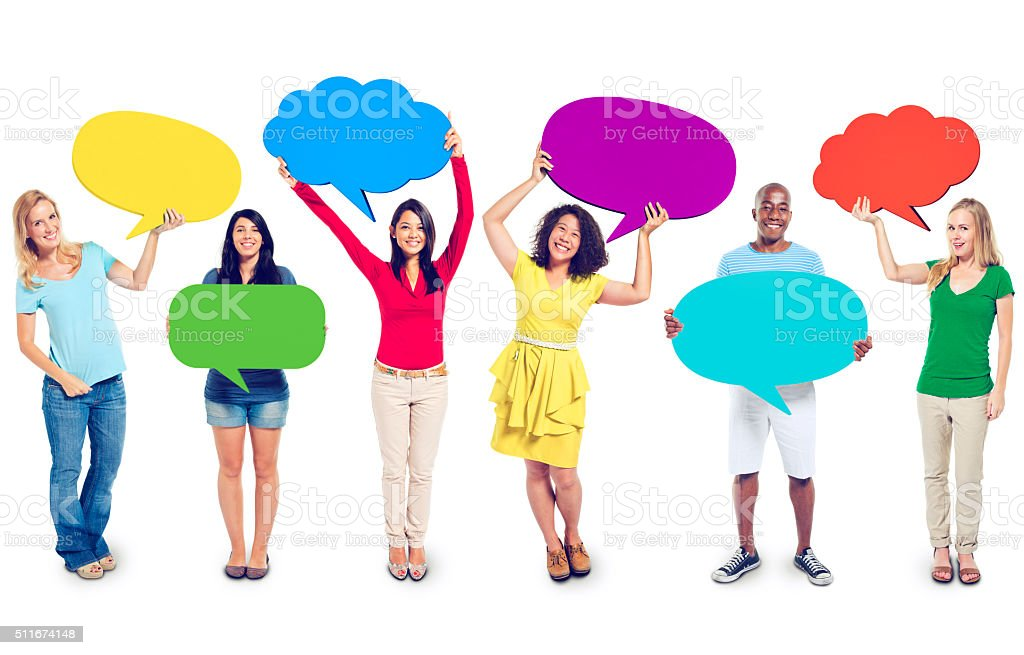 Multi-Ethnic Group of People with Speech Bubbles stock photo