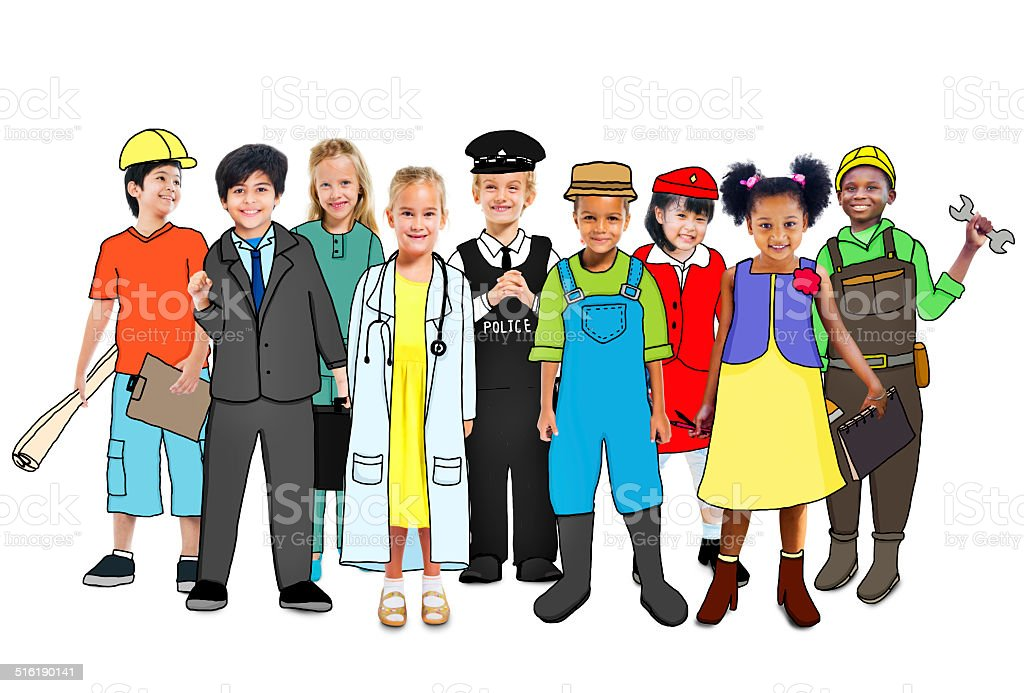 Multiethnic Group of People with Various Occupations Concept stock photo