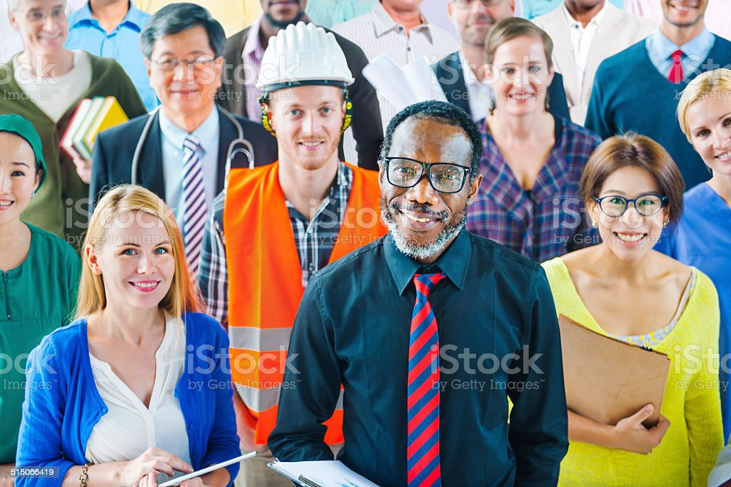 Multiethnic Group of People with Various Occupations stock photo