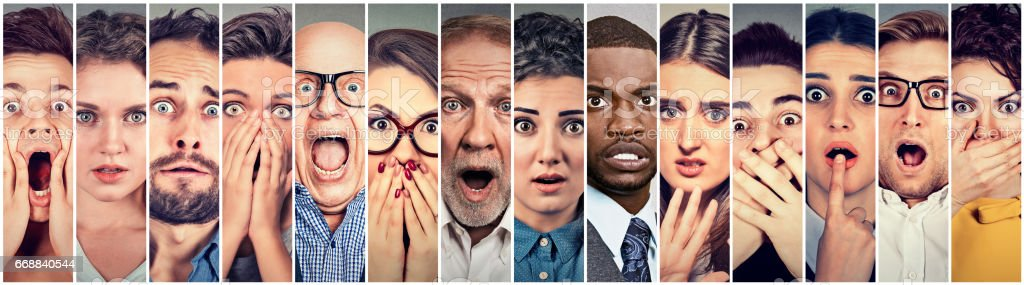 Multiethnic group of scared people stock photo