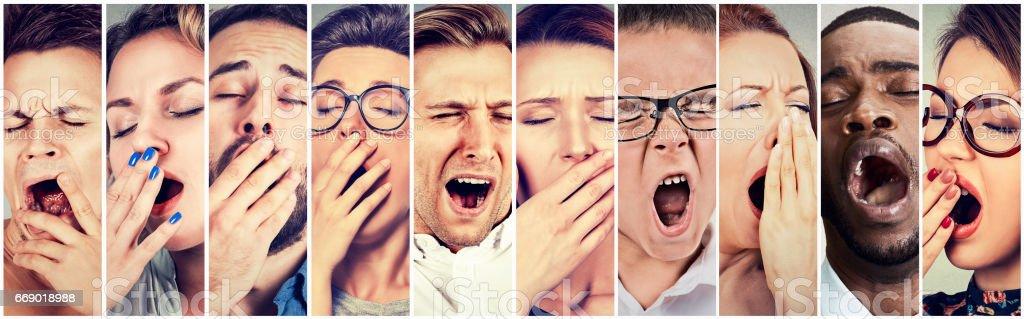 Multiethnic group of sleepy people women and men yawning stock photo