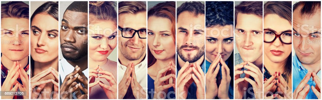Multiethnic group of sneaky, sly, liar people women and men stock photo