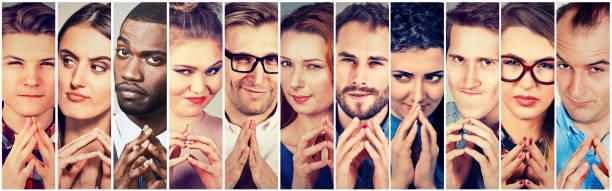 Grupo multiétnico de astuto, astuto, mentiroso gente mujeres y hombres - foto de stock