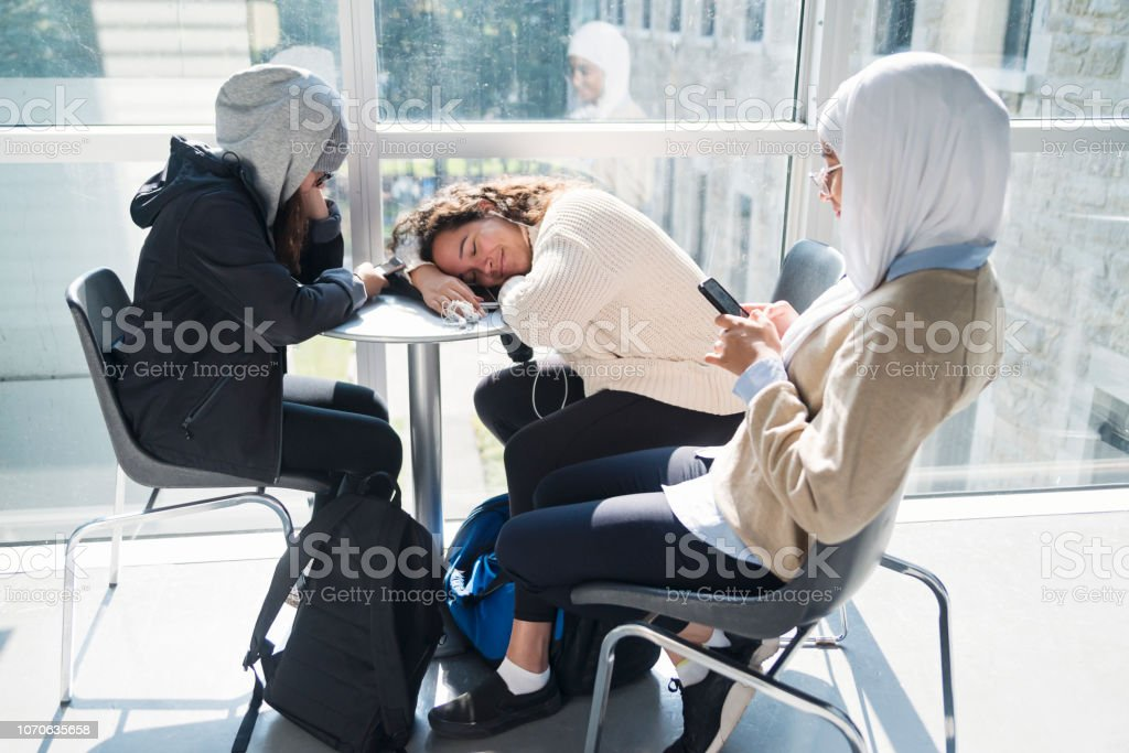 Multi-ethnic group of students hanging in College hall. stock photo