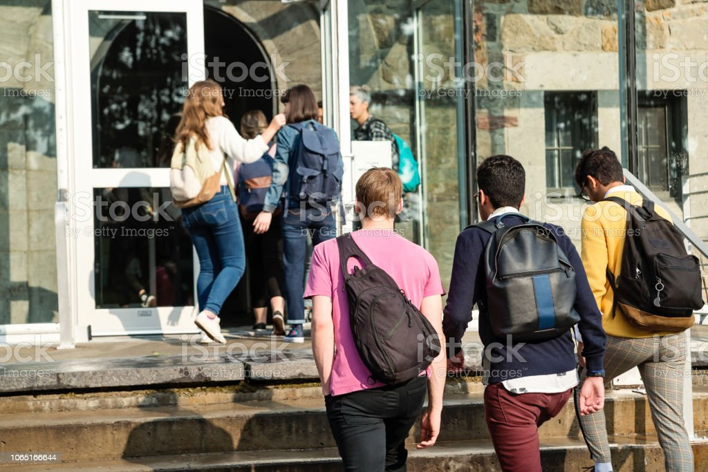 Multi-ethnic group of students in front of College University entrance. stock photo