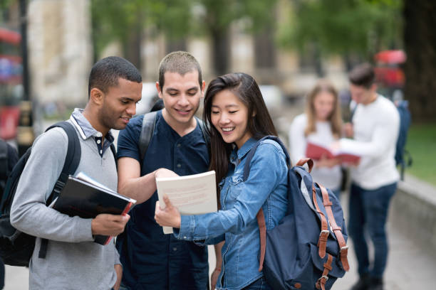 Multi-ethnic group of students studying outdoors - foto stock