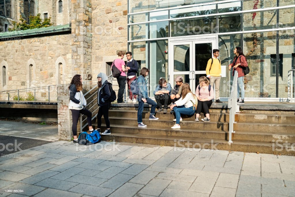 Multi-ethnic group of students taking a break in front of College doors. stock photo