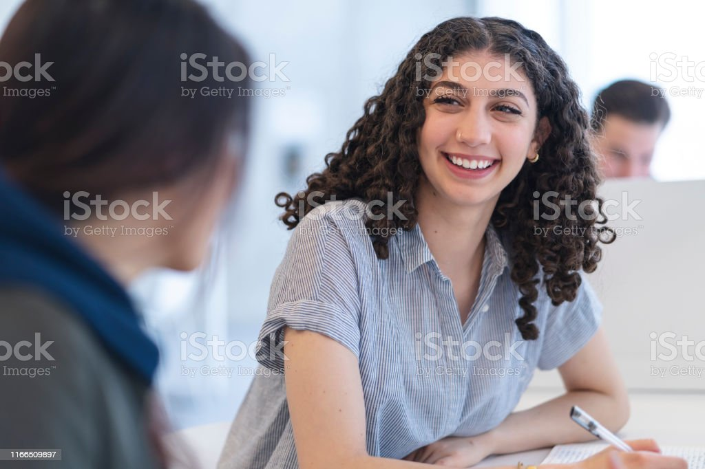A multi-ethnic group of students sits in a classroom talking to each...