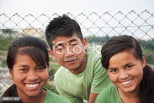 istock Multi-ethnic group of teenage friends posing outdoors. 488241402