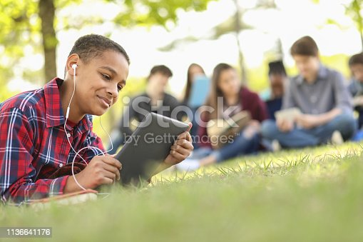 Pre-teenage and teenage group of boys and girls studying, hanging out together in local park or school campus with friends.  African descent boy foreground using digital tablet.