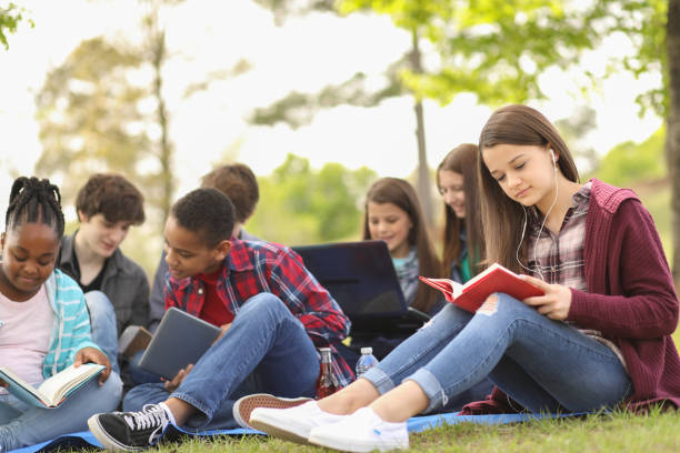 Multi-ethnic group of teenagers at park with friends. stock photo