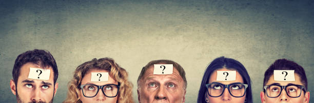 Multiethnic group of thinking people with question mark looking up Multiethnic group of thinking people with question mark looking up ignorance stock pictures, royalty-free photos & images