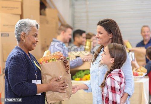 623523102 istock photo Multi-ethnic group of volunteers work at food bank. 1179825205