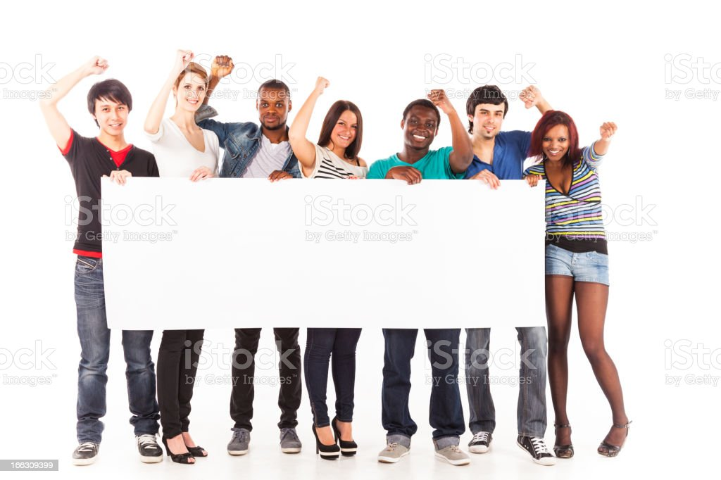 multi-ethnic group of young adults stock photo