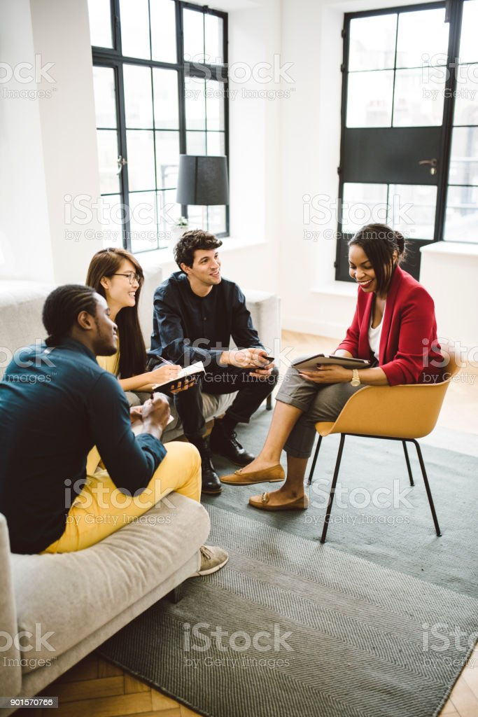Multi-ethnic Group of Young Entrepreneurs Working stock photo
