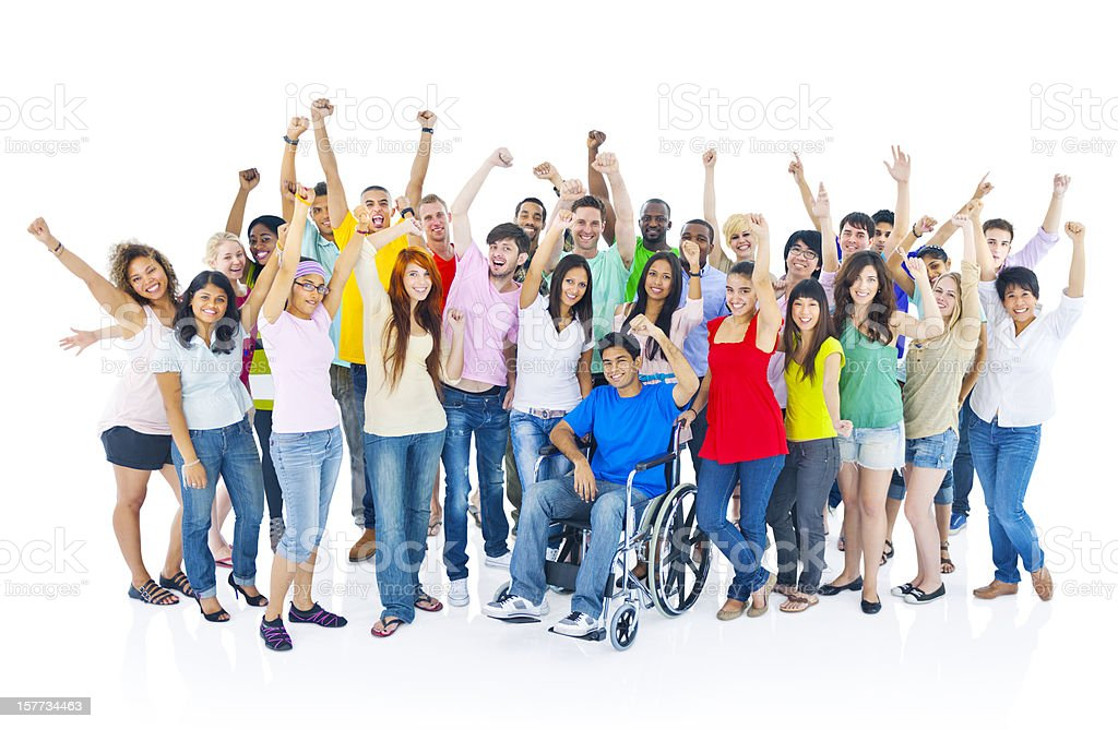 Multi-ethnic group of young people celebrating royalty-free stock photo