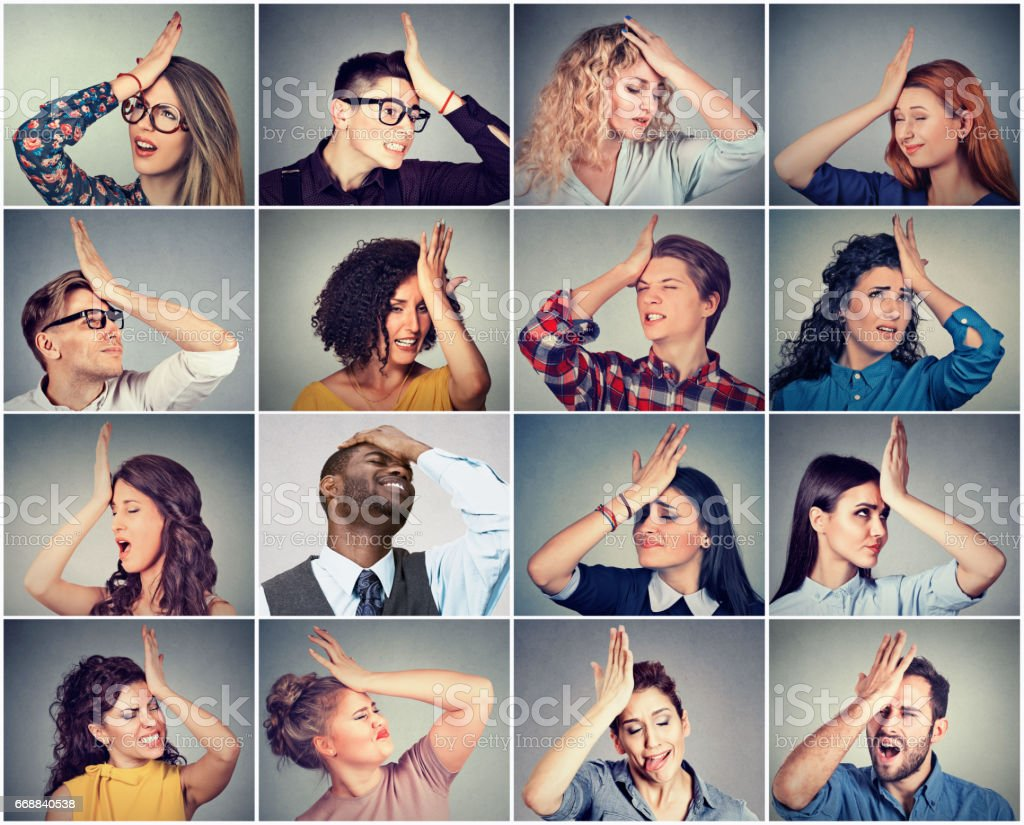 Multiethnic group of young people men and women having regrets stock photo