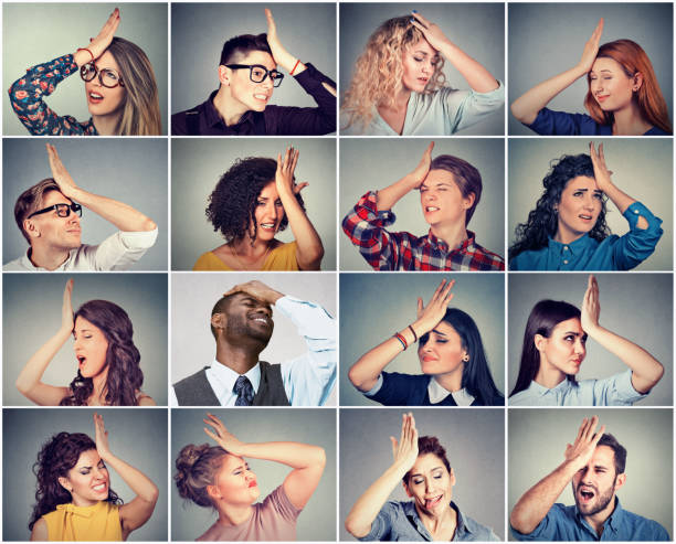 multiethnic group of young people men and women having regrets - reminder stock photos and pictures