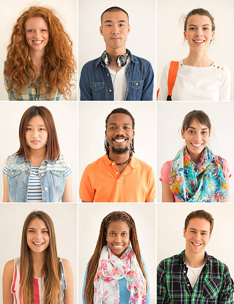 multi-ethnic group of young people. - grid pattern stock photos and pictures