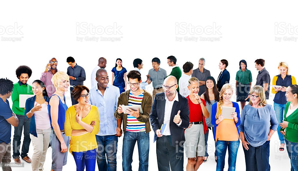 Multiethnic Group People Using Digital Devices Concept stock photo