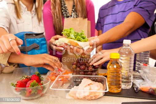 Multi-ethnic teens in kitchen making school lunches.  Adopted or foster home teens.  Sandwiches, fruit, drinks.