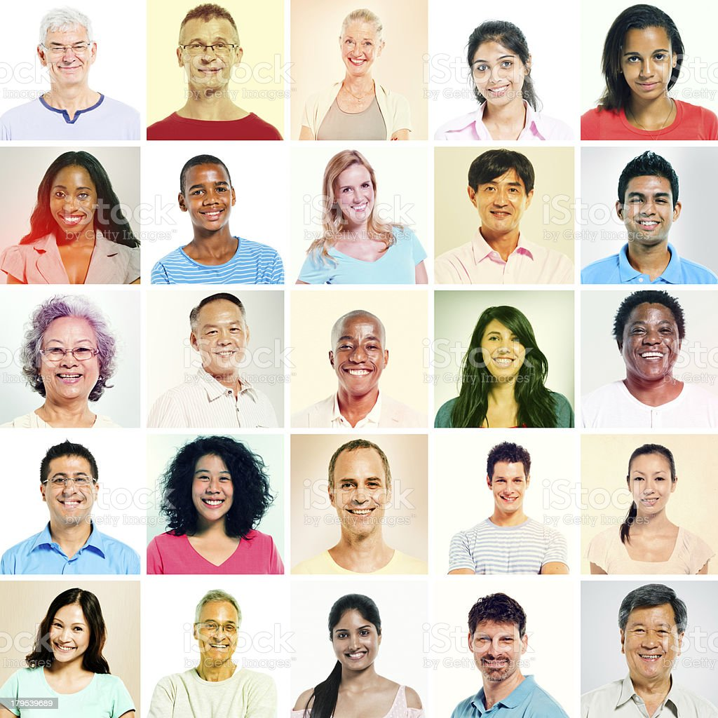 Multi-ethnic group with sepia toned royalty-free stock photo