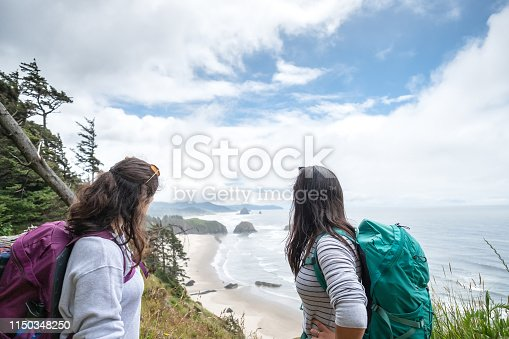 Eurasian sisters hiking along coastal bluff trail, Ecola State Park, Oregon, USA.  Cannon Beach in the background.
