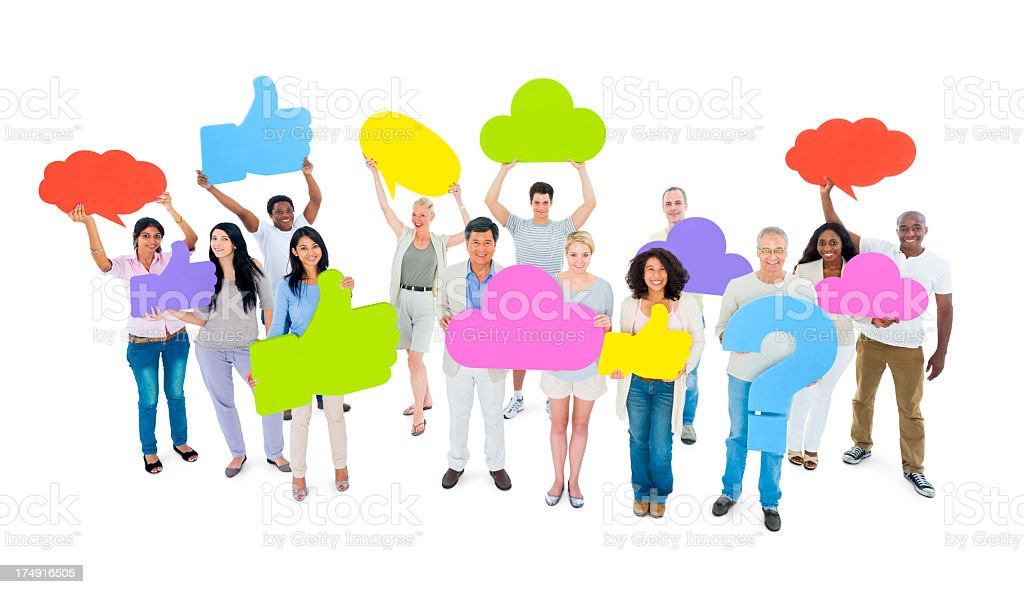 multi-ethnic holding social media symbol royalty-free stock photo