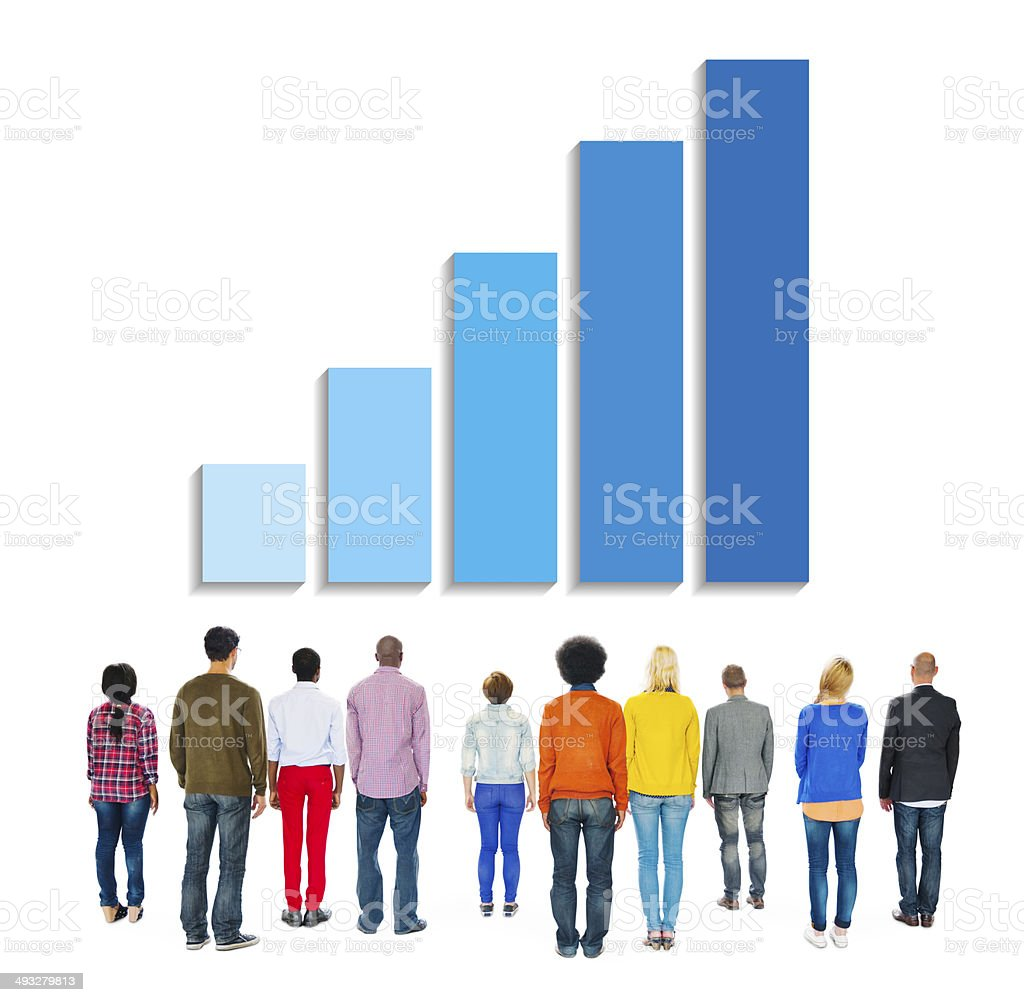 Multiethnic People Facing Back with Growing Bar Graph Above stock photo