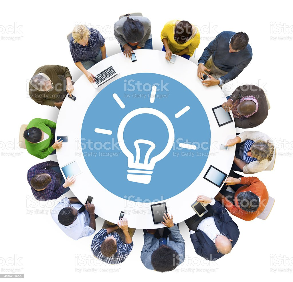 Multiethnic People Social Networking with Innovation Concepts stock photo