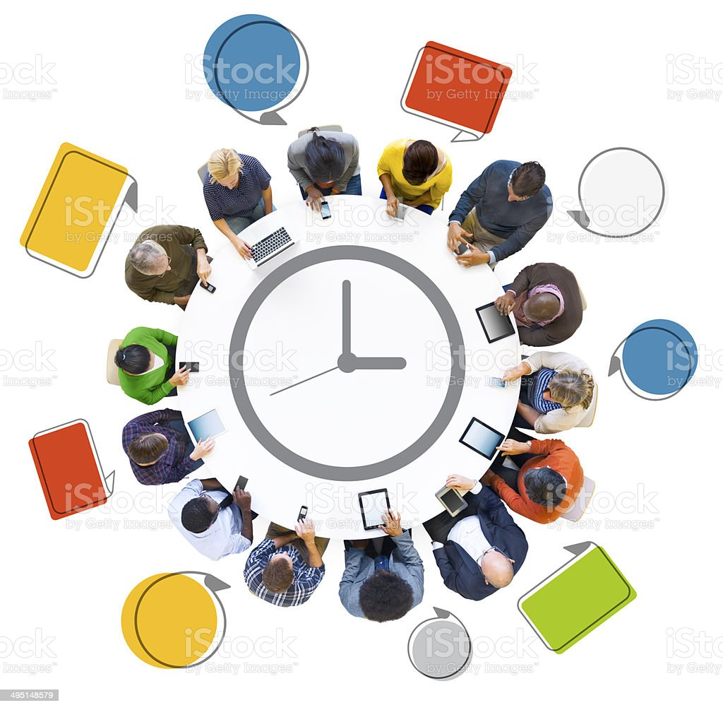 Multi-Ethnic People Social Networking with Time Concepts stock photo